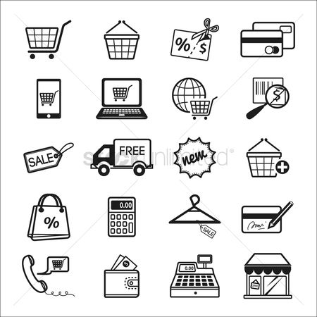 Trolley : Set of online shopping icons
