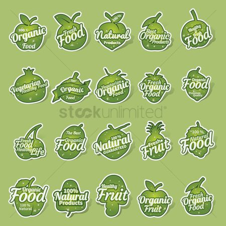 Grapes : Set of organic food labels