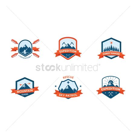 Hiking : Set of outdoor logo element icons
