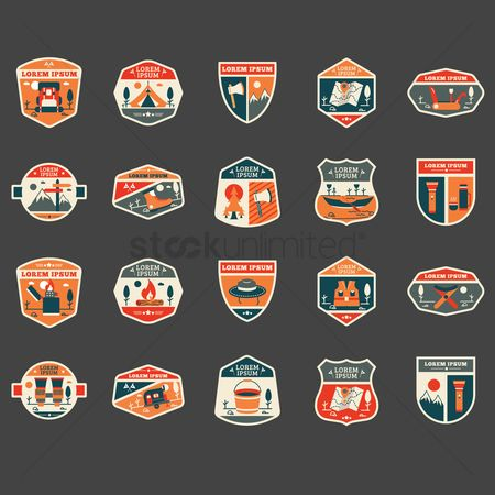 Backpacks : Set of outdoor logo element icons