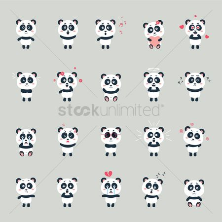 Sleeping : Set of pandas with expression