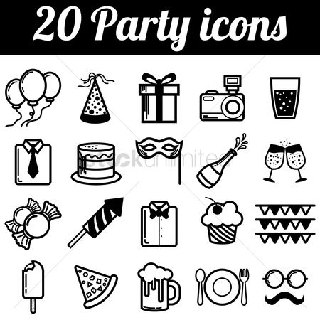 Moustache : Set of party icons