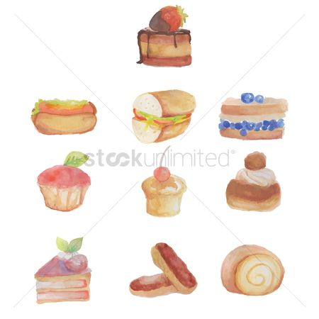 Eclairs : Set of pastries