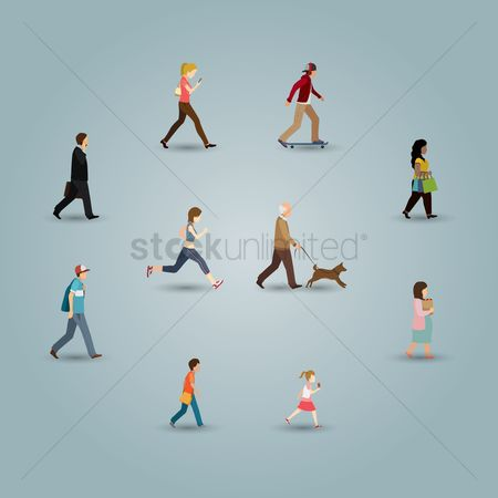 Character : Set of people doing different activities