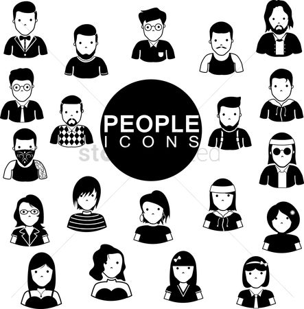 Hairstyle : Set of people icons