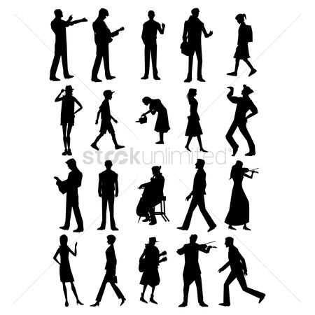 Posing : Set of people silhouette icons