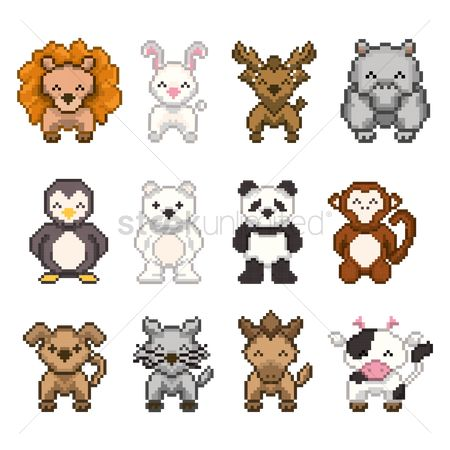 Bull : Set of pixel art animal icons