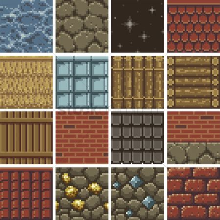 Brick : Set of pixel art gaming background icons