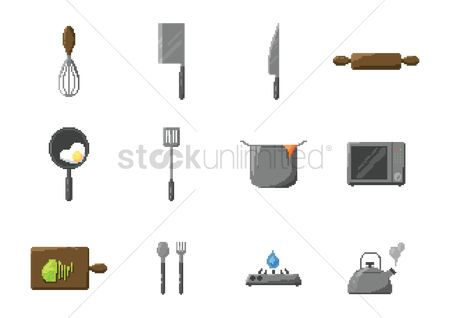 Stove : Set of pixel art kitchen icons