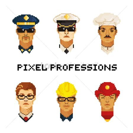 Policemen : Set of pixel art professions icons