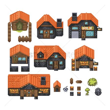Wooden sign : Set of pixelated buildings
