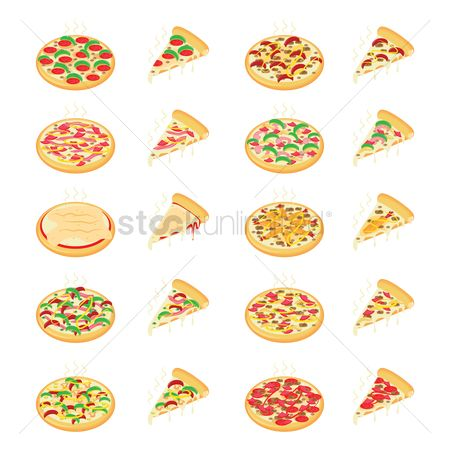 Green capsicum : Set of pizza icons