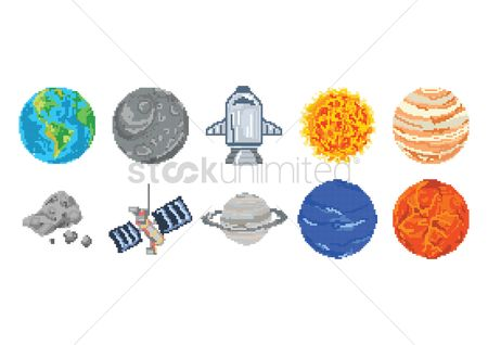 Broadcasting : Set of planets and space concept