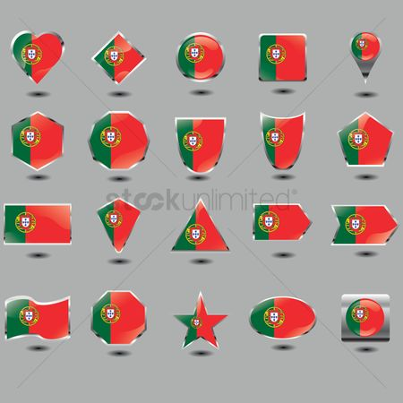 Pentagons : Set of portugal flag buttons