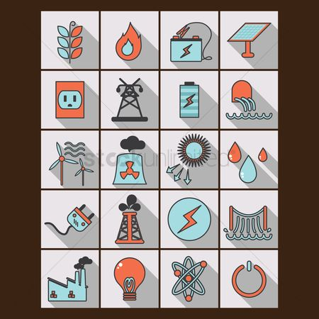 Power button : Set of power generating icons