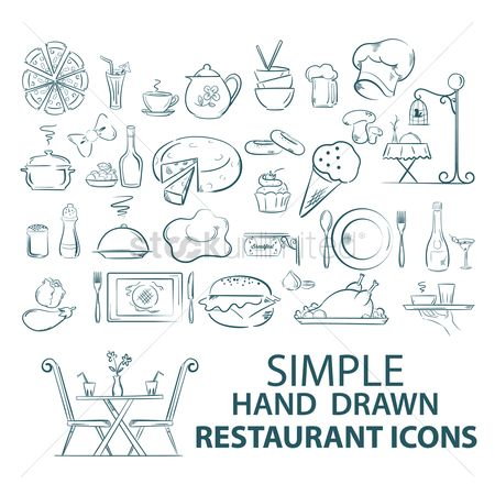 Cream : Set of restaurant icons