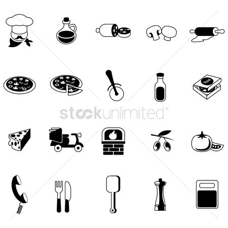 Scooters : Set of restaurant icons