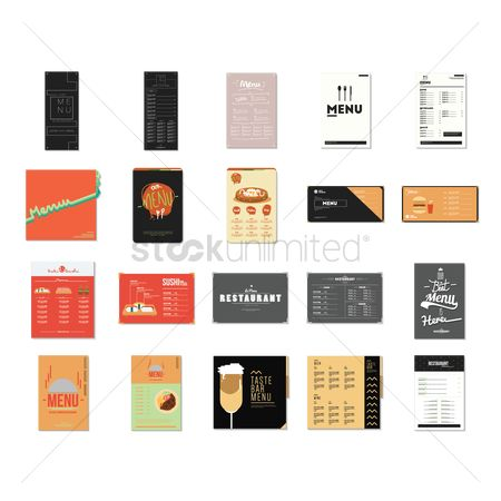 Fork : Set of restaurant menu card design