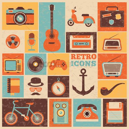 Transport : Set of retro icons