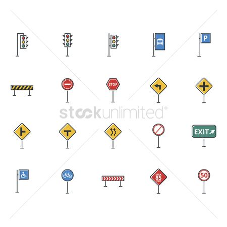 Barrier : Set of road sign icons
