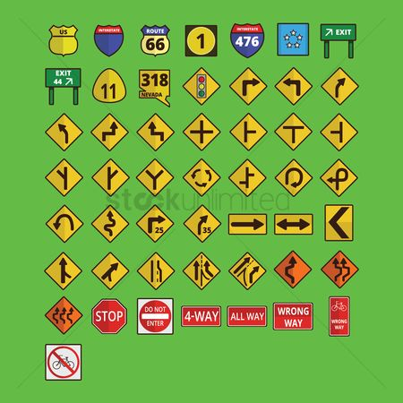 Warning : Set of road signs