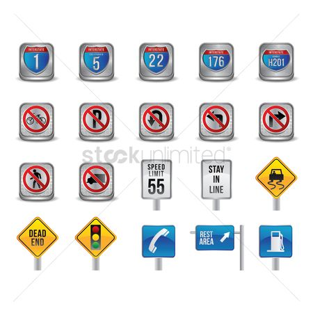 Petroleum : Set of road signs