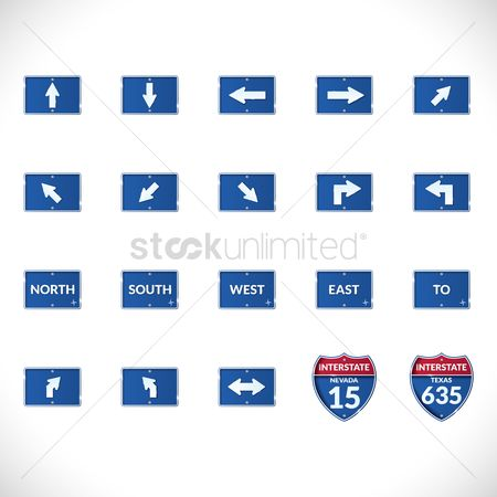 Texas : Set of road signs