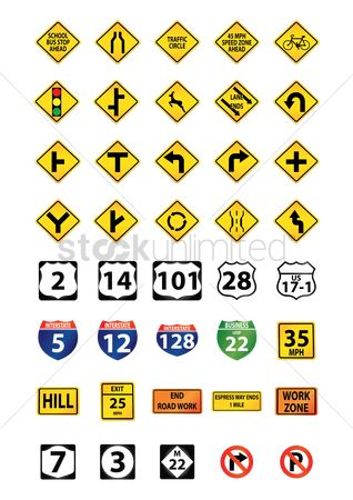 America : Set of road signs