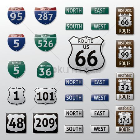 United states : Set of route signs
