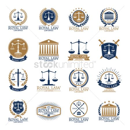Laurel : Set of royal law logo element icons