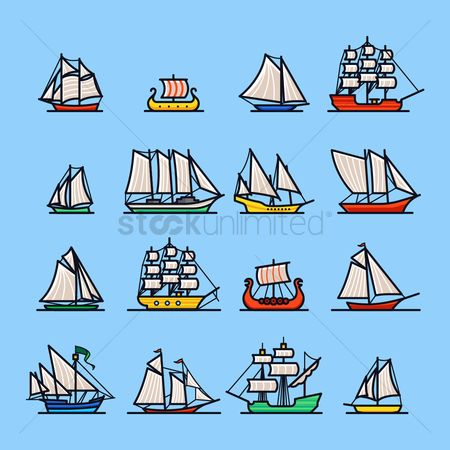Recreation : Set of sailboat icons
