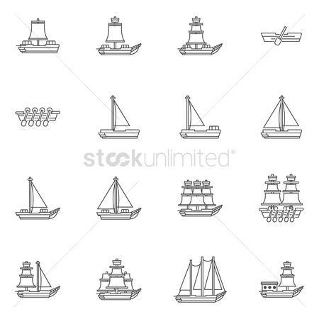 Vessel : Set of sailboat icons
