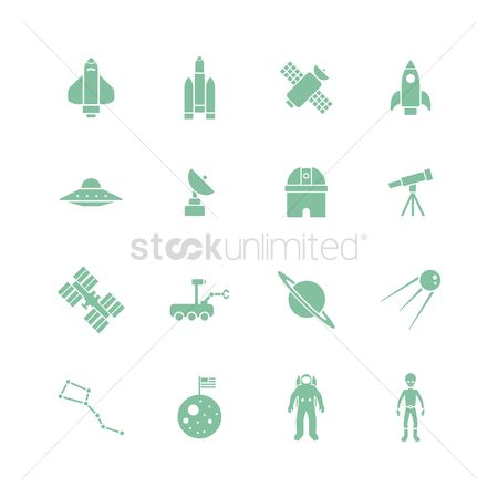 Flag : Set of science icons