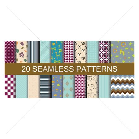 Heart shape : Set of seamless patterns backgrounds