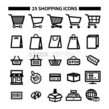 Trolley : Set of shopping icons