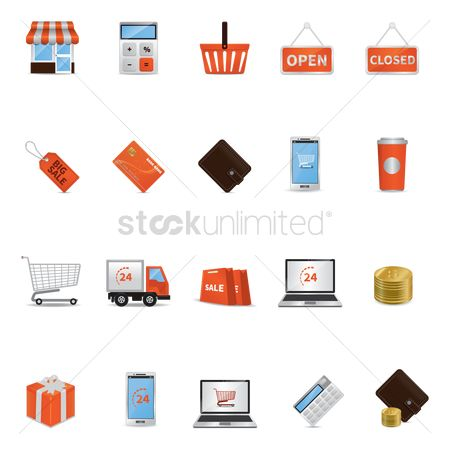 Lorries : Set of shopping icons