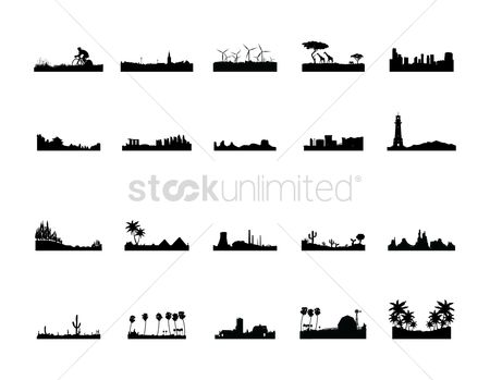 Building : Set of silhouettes