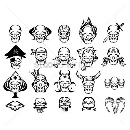 Devils : Set of skull icons