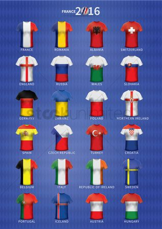 England : Set of soccer jerseys