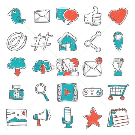 Electronic : Set of social media icons