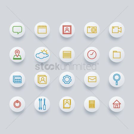 Power button : Set of social media icons