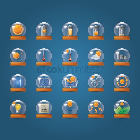 Panels : Set of solar technology icons