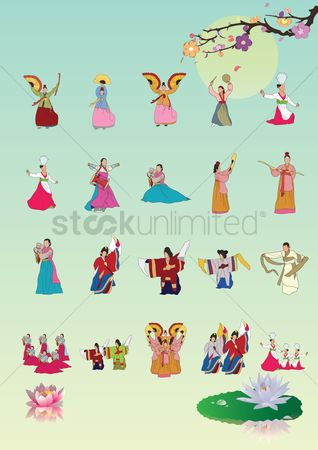 Flower pot : Set of south korea traditional performances icons