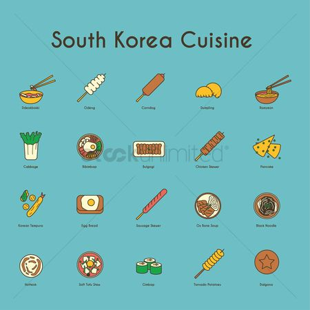 Hotcake : Set of south korean cuisine icons