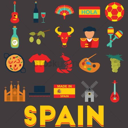 Red : Set of spain icons