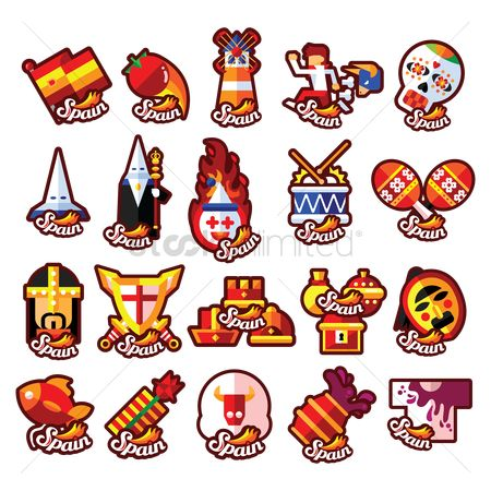 Drums : Set of spain icons