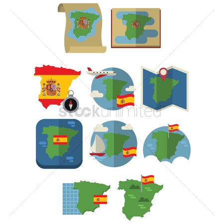 Nautical : Set of spain map and flag icons