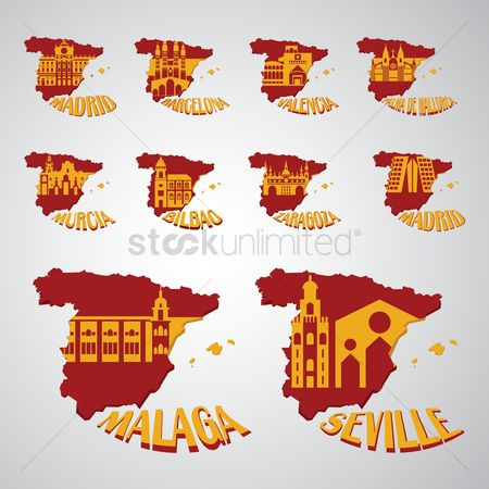 Valencia : Set of spain map with landmarks