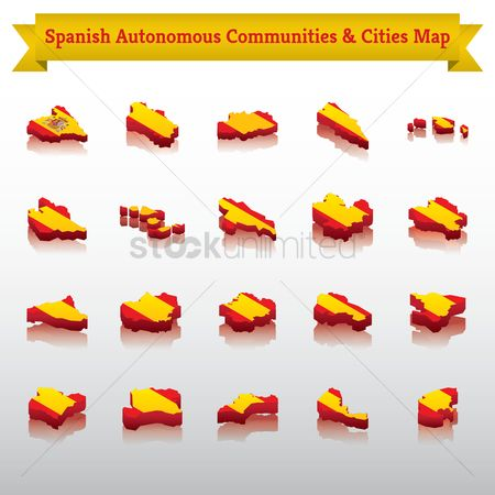 Valencia : Set of spanish autonomous communities and cities maps