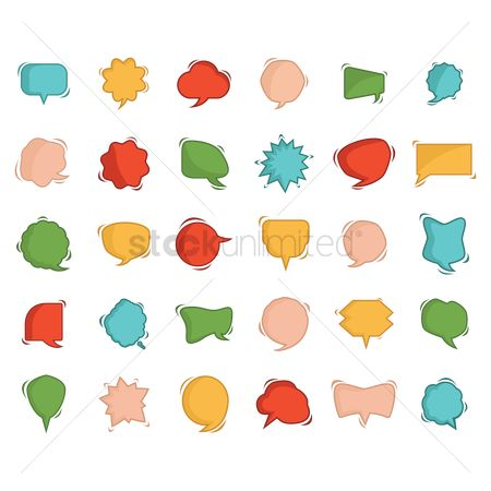 Communication : Set of speech and thought bubble icons